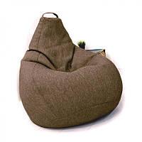 Кресло-груша KatyPuf светло-коричневое Рогожка, Размер L 100x75