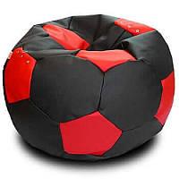 Крісло-м'яч KatyPuf чорне з червоним Оксфорд, Размер 50см