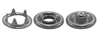 Кнопки металлические 9.5 мм, цв. никель, (2000 шт / уп.)