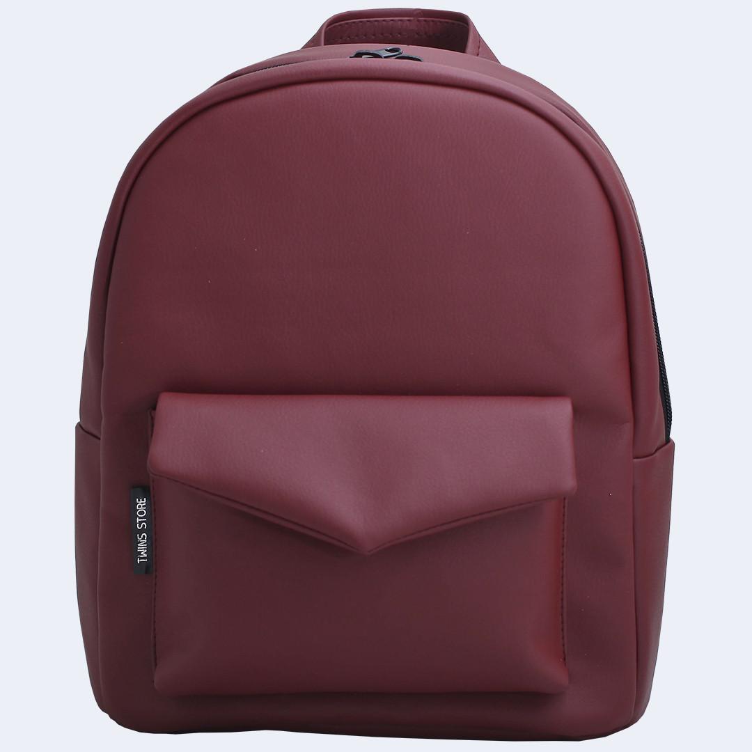 Рюкзак кожаный Twins бордовый