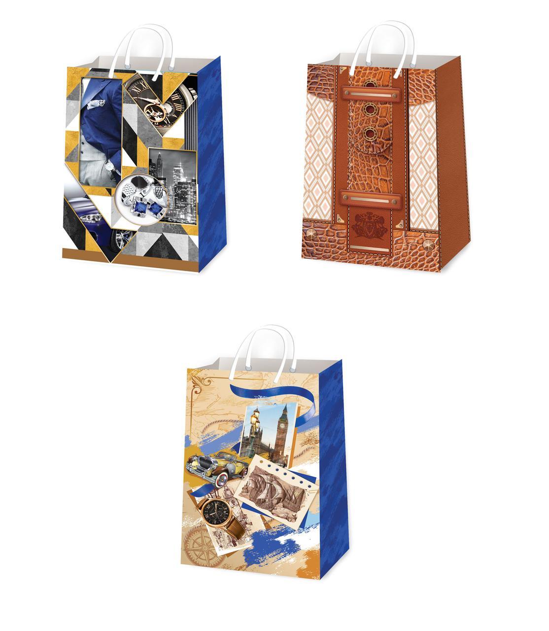 Подарочные пакеты для мужчин размер 38 х 24 см (12 шт/уп ...