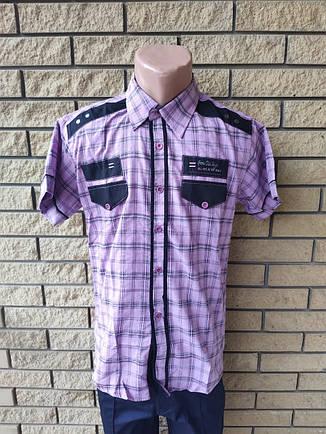 Рубашка мужская летняя коттоновая стрейчевая брендовая высокого качества ZENKALONI, Турция, фото 2