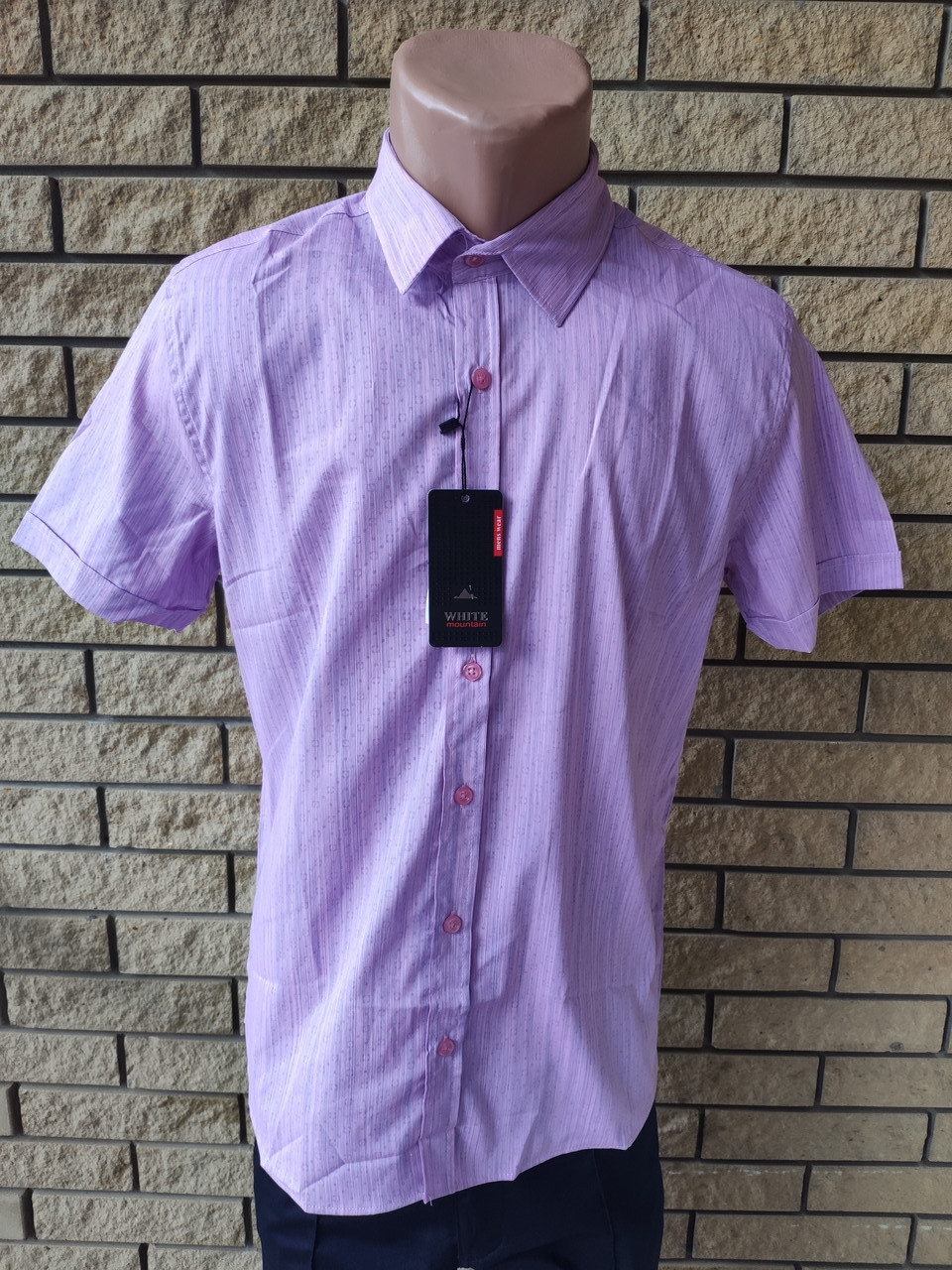 Рубашка мужская летняя коттоновая стрейчевая брендовая высокого качества WHITE MOUNTAIN, Турция