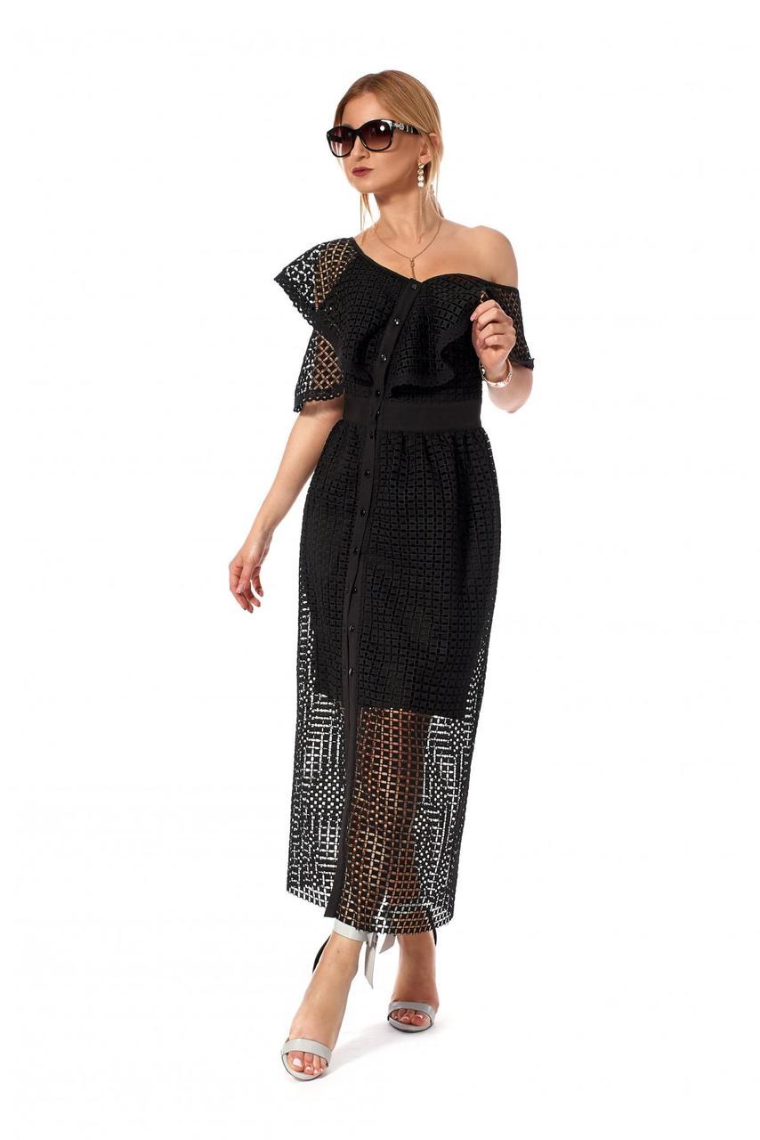 Длинное коктельное платье с сооблазнительными воланами. .Разные цвета.