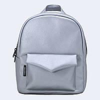 Рюкзак кожаный Twins серебряный , фото 1
