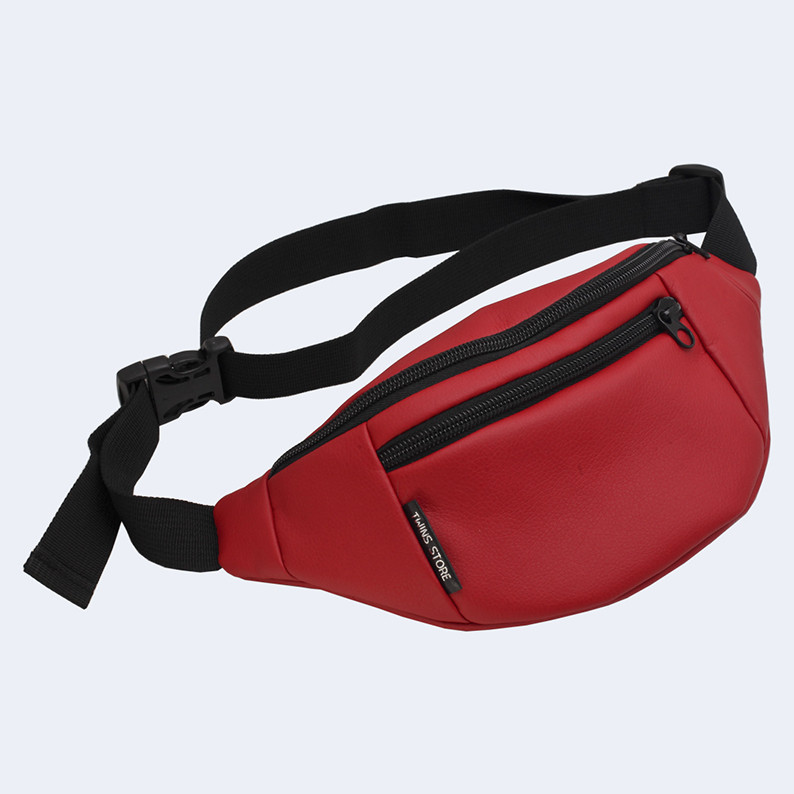 Поясная сумка кожаная Twins красная