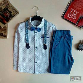 Ошатний костюм двійка котонновый на хлопчика джентельмен з підтяжками 5 - 8 років синій