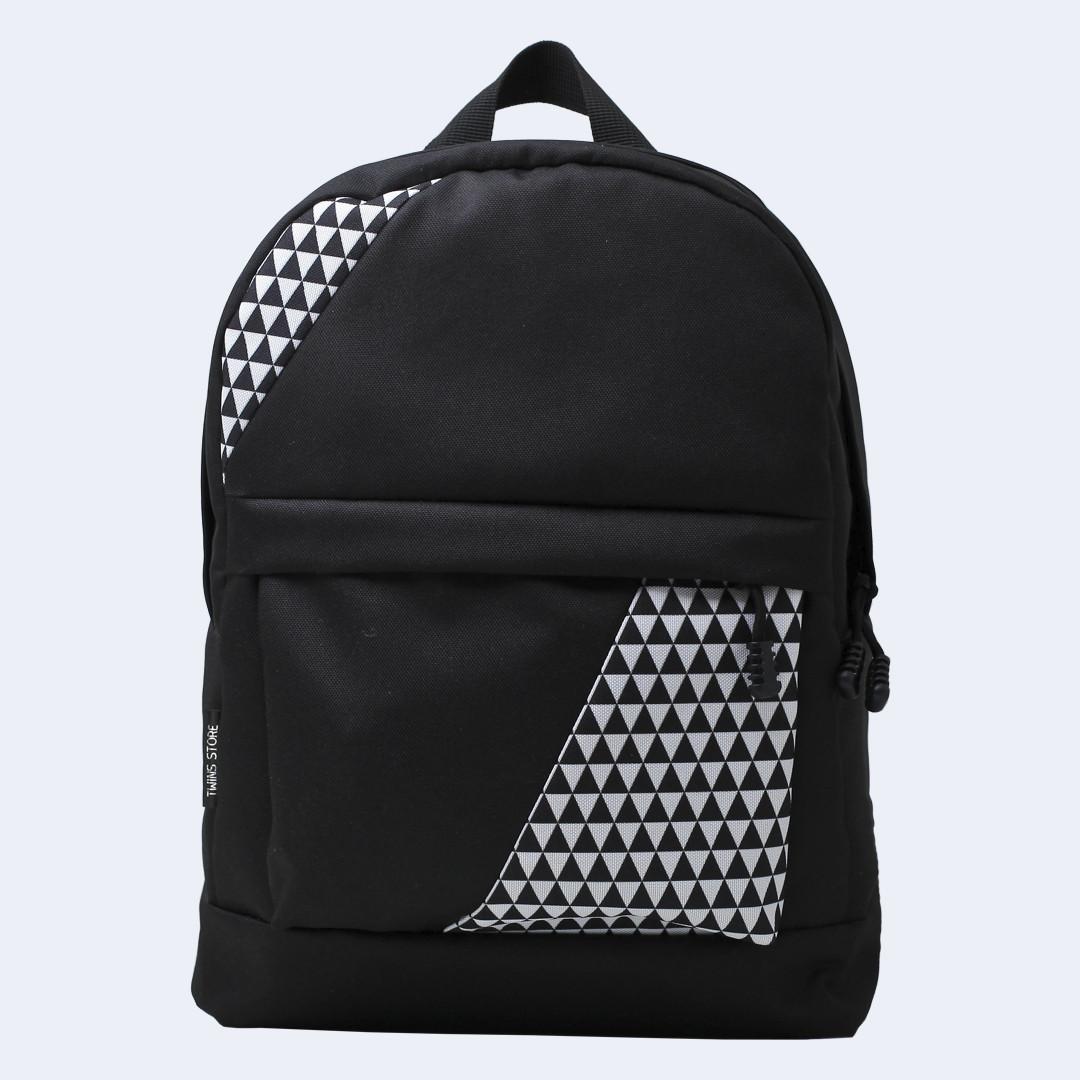 Рюкзак кожаный Twins mini с треугольниками черный
