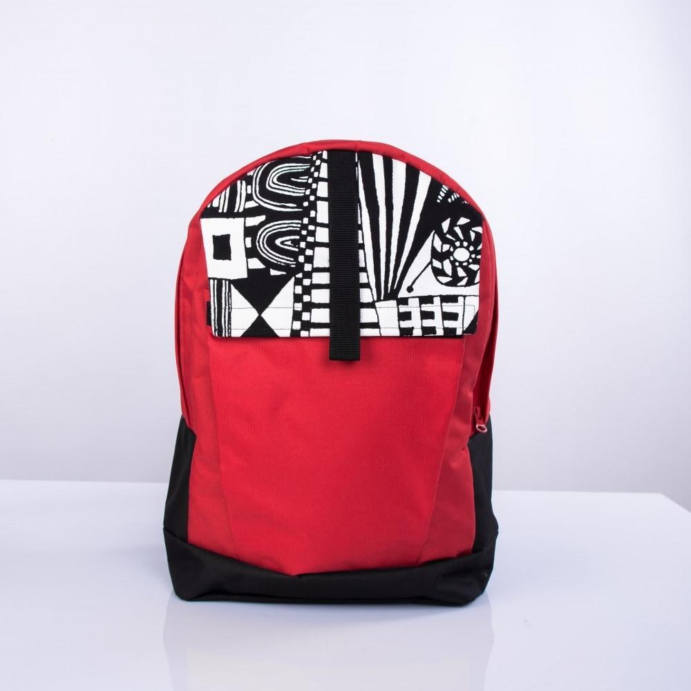 Рюкзак Twins с орнаментом черно-красный