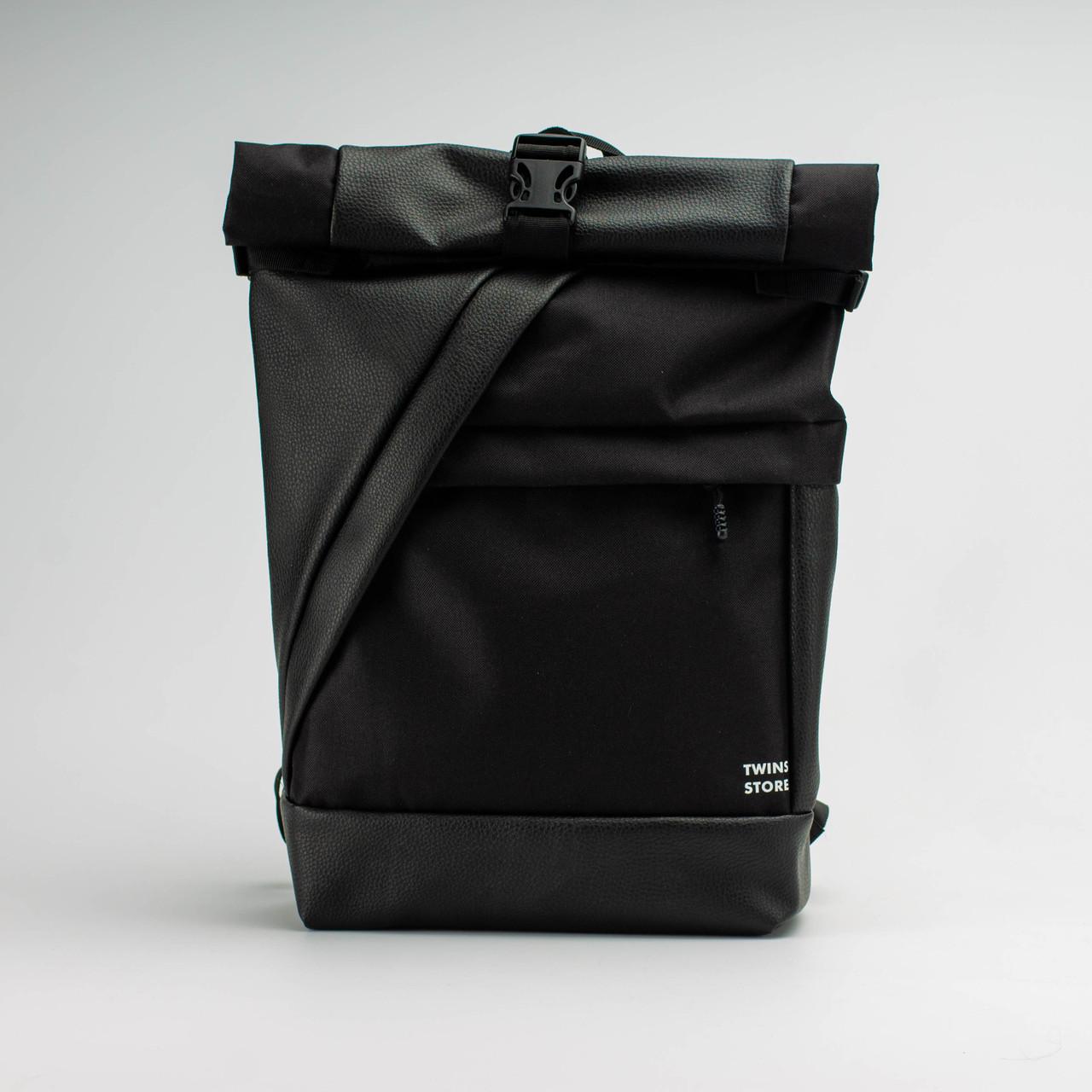 Рюкзак кожаный Twins Rolltop черный