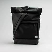 Рюкзак кожаный Twins Rolltop черный, фото 1