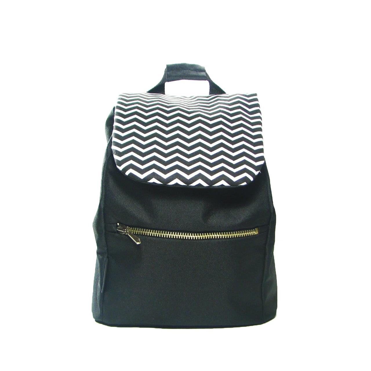 Рюкзак кожаный Twins с зигзагами детский черный