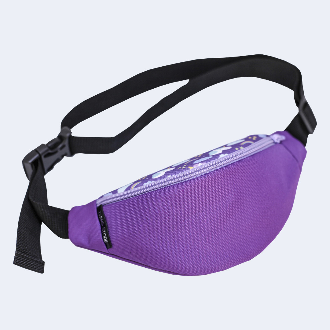 Детская поясная сумка Twins с единорогами фиолетовая