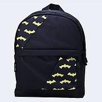 Рюкзак кожаный Twins mini с бэтменом черный