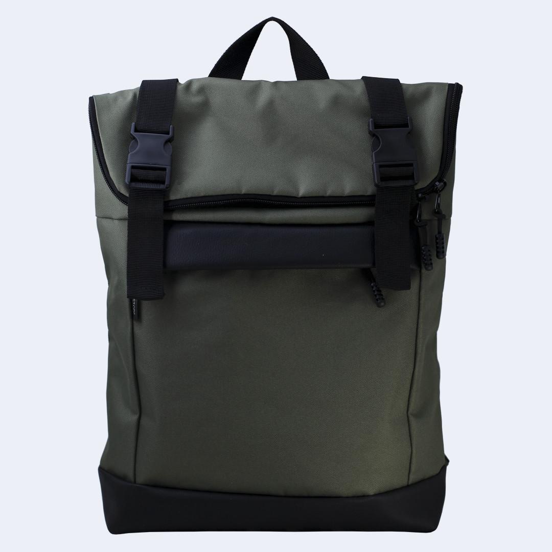 Рюкзак кожаный Twins Rolltop medium зеленый
