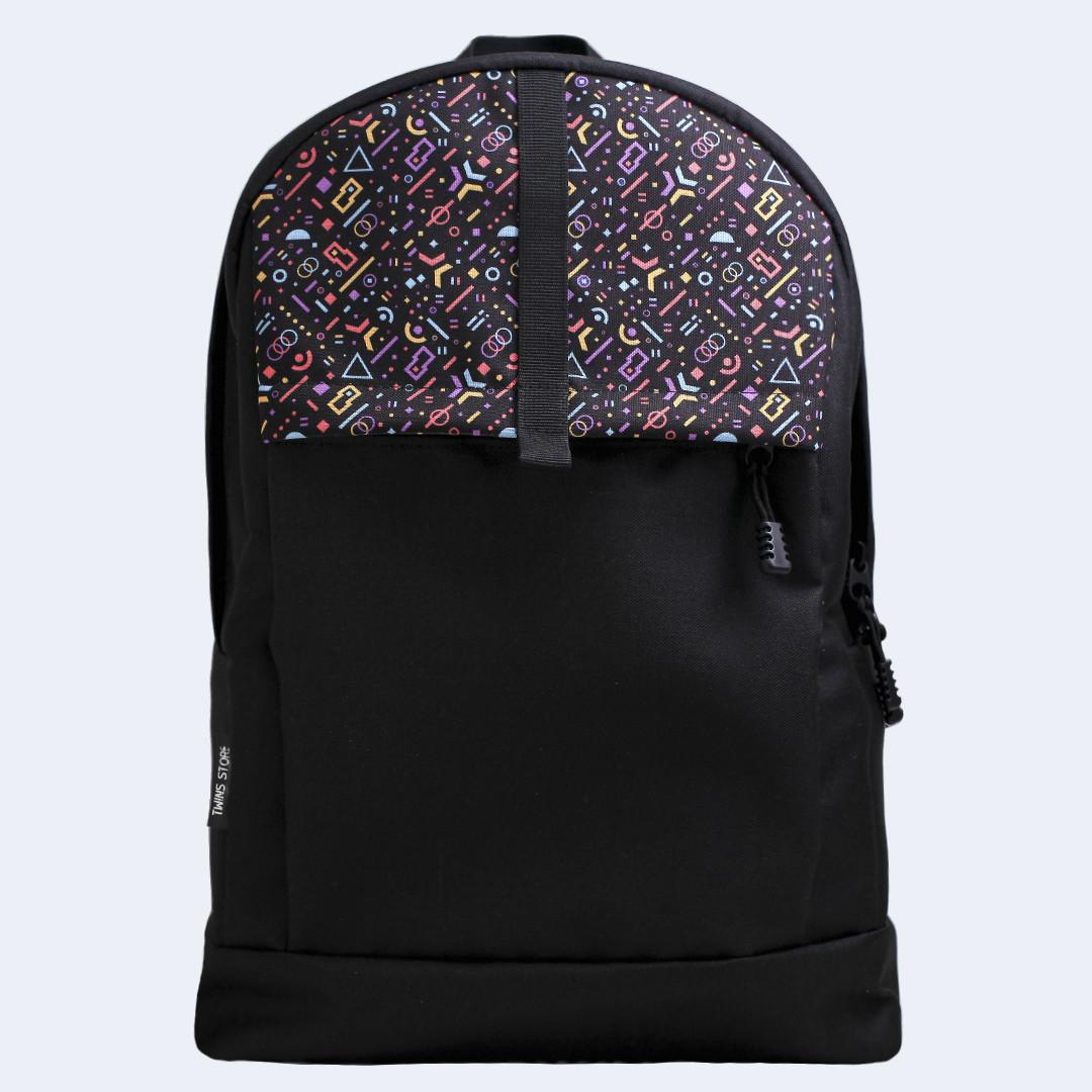 Рюкзак кожаный Twins с цветными фигурами черный