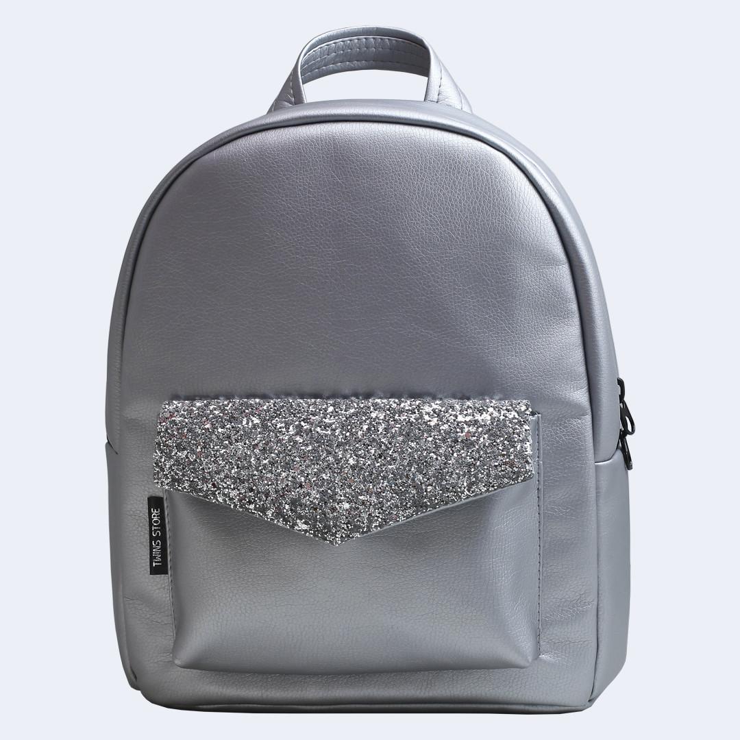 Рюкзак кожаный Twins silver серебряный