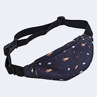 Детская поясная сумка Twins с космосом синяя