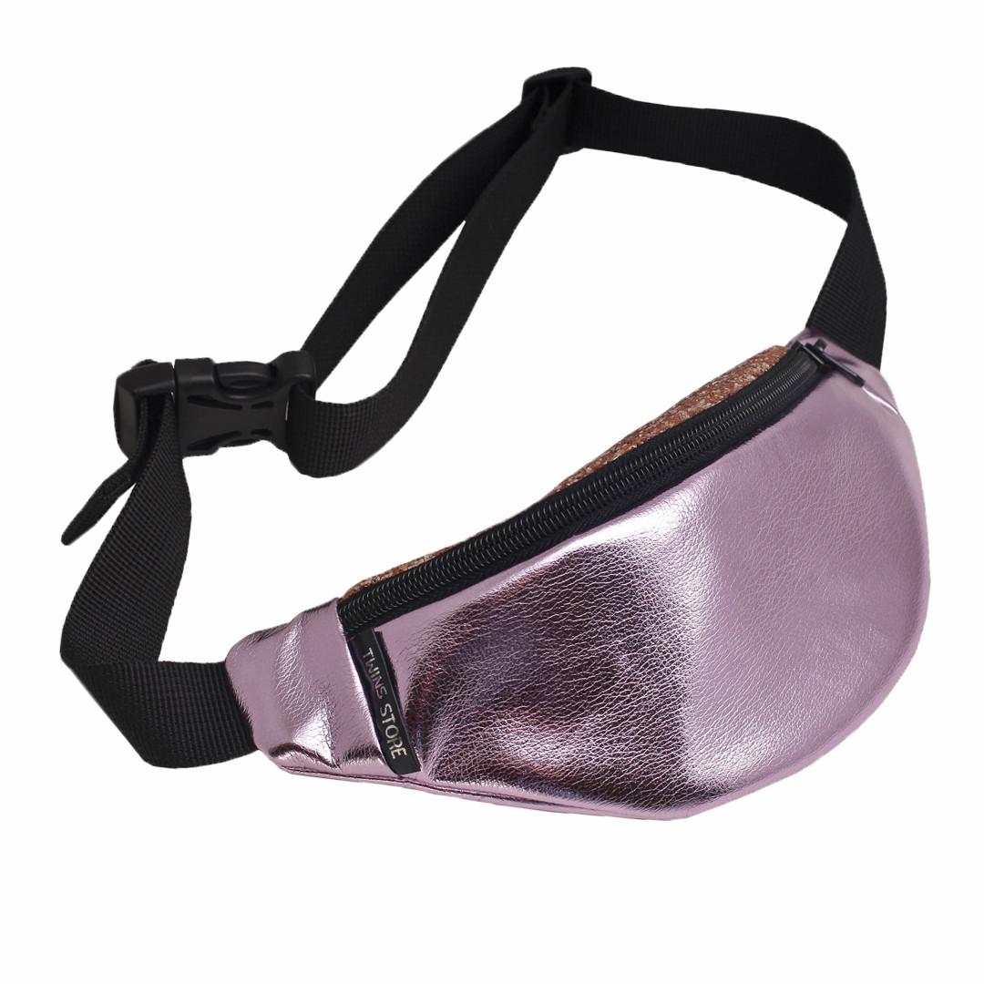 Поясная сумка кожаная Twins pink silver розовая блестящая