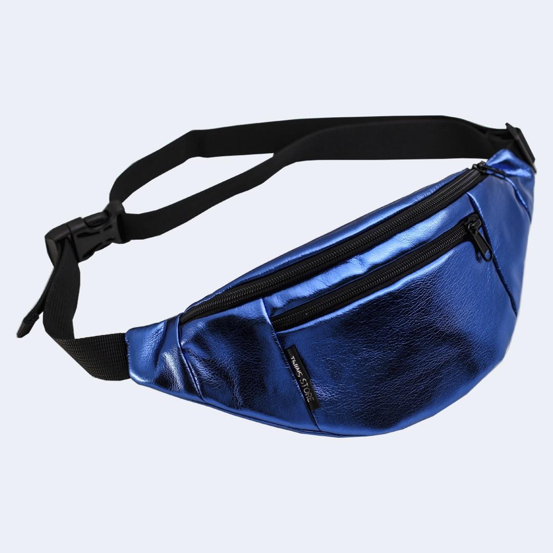 Поясная сумка кожаная Twins блестящая синяя