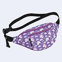 Поясная сумка Twins с единорогами фиолетовая
