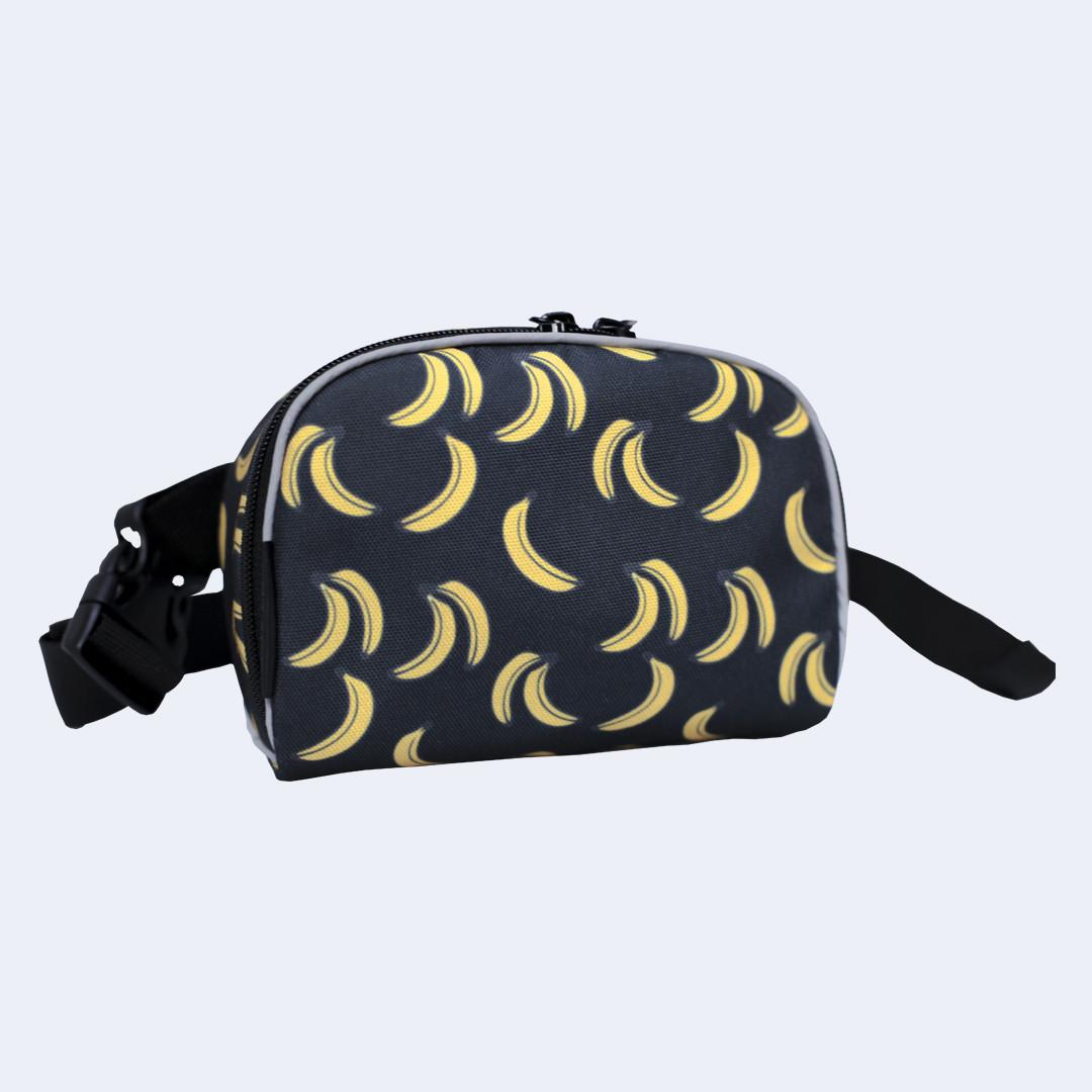 Поясная сумка Twins серая с бананами small