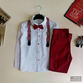 Ошатний костюм двійка котонновый на хлопчика джентельмен з підтяжками 5 - 8 років бордо