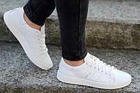 Кроссовки Adidas Stan Smith реплика, женские, подростковые натуральная кожа белые (Код: Р1231а)