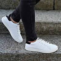 Кроссовки Adidas Stan Smith реплика, женские, подростковые натуральная кожа белые с черным (Код: Р1232а)