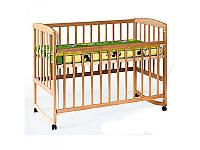 Кровать для детей 1004 деревянная (бук), качалка/колеса, боковина опускается