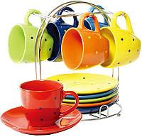Чайный набор Wellberg Glamour 6 чашек 220мл и 6 блюдец на подставке