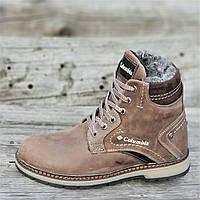 Подростковые зимние ботинки для мальчика на шнурках и молнии кожаные коричневые на меху прошиты (Код: Р1257)