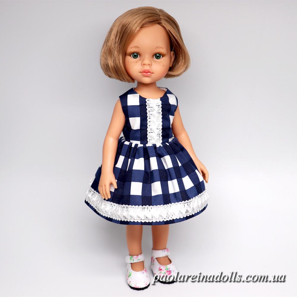 Платье в клетку для кукол Паола Рейна