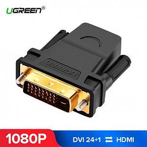 Переходник HDMI DVI D 24+1 Ugreen 20124 (Черный)