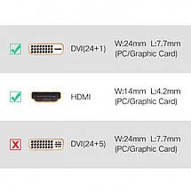 Переходник HDMI DVI D 24+1 Ugreen 20124 (Черный), фото 3