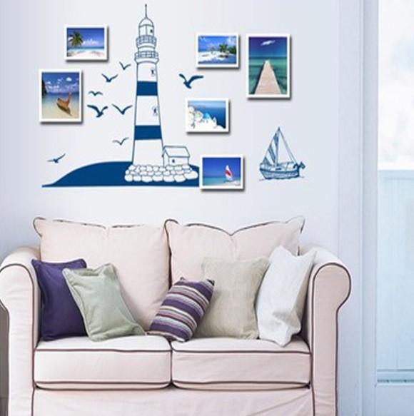 """Интерьерная наклейка в детскую """"Парусник в море и башня"""", цвет синий"""