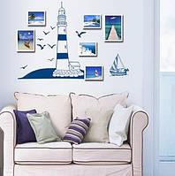 """Интерьерная наклейка в детскую """"Парусник в море и башня"""", цвет синий, фото 1"""