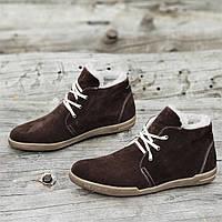 Зимние мужские классические полуботинки, ботинки замшевые на шнурках и молнии коричневые стильные (Код: Р1267a)