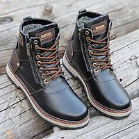 Зимние мужские высокие ботинки, сапоги кожаные черные на молнии и шнуровке натуральный мех (Код: Р1282a)