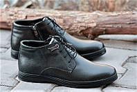 Элегантные зимние классические мужские ботинки, полусапожки на молнии и шнурках кожаные черные (Код: Р151а)