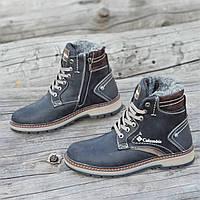 Подростковые зимние ботинки для мальчика, на шнурках и молнии кожаные черные прошиты на меху (Код: Р1291а)