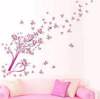 """Интерьерная наклейка """"Карандаш-дерево с бабочками"""", цвет розовый"""