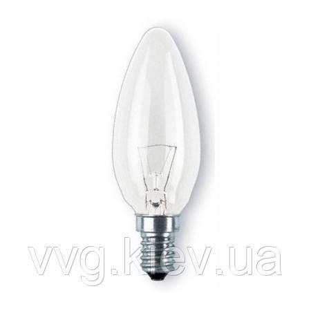 Лампа накаливания PHILIPS B35 60W Е14 CL свеча проз.