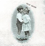 Салфетка декупажная Парочка мальчик и девочка 4866