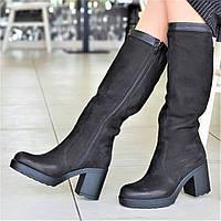 Женские зимние сапоги на платформе кожаные черные на меху мягкая резиновая подошва (Код: Р1300а)