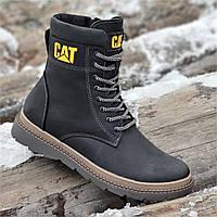 Высокие мужские зимние ботинки CAT реплика кожаные черные на натуральном меху (Код: Р1324)