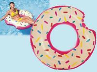 Надувной Круг Intex От 8 Лет 107 см Пончик Donut 56265 Для Отдыха На море И В Бассейне