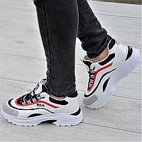 Очень модные женские кроссовки белые с темно синими и красными вставками мягкие и удобные (Код: Р1331а)