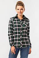 Теплая клетчатая рубашка зеленого цвета, фото 1