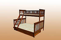 Кровать двухъярусная трансформер из натурального бука ящики 1700х80х1900 (Сон 23)